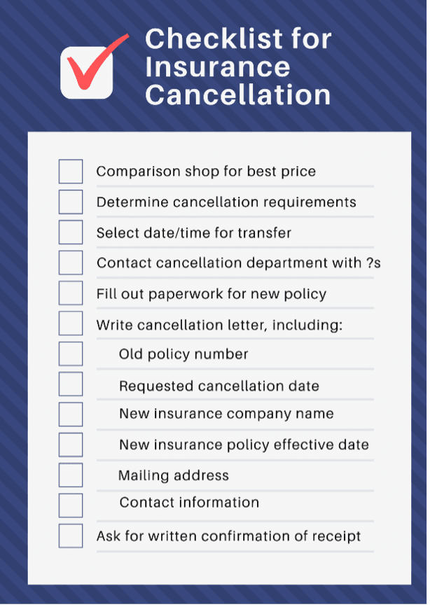 checklist for insurance cancellation letter