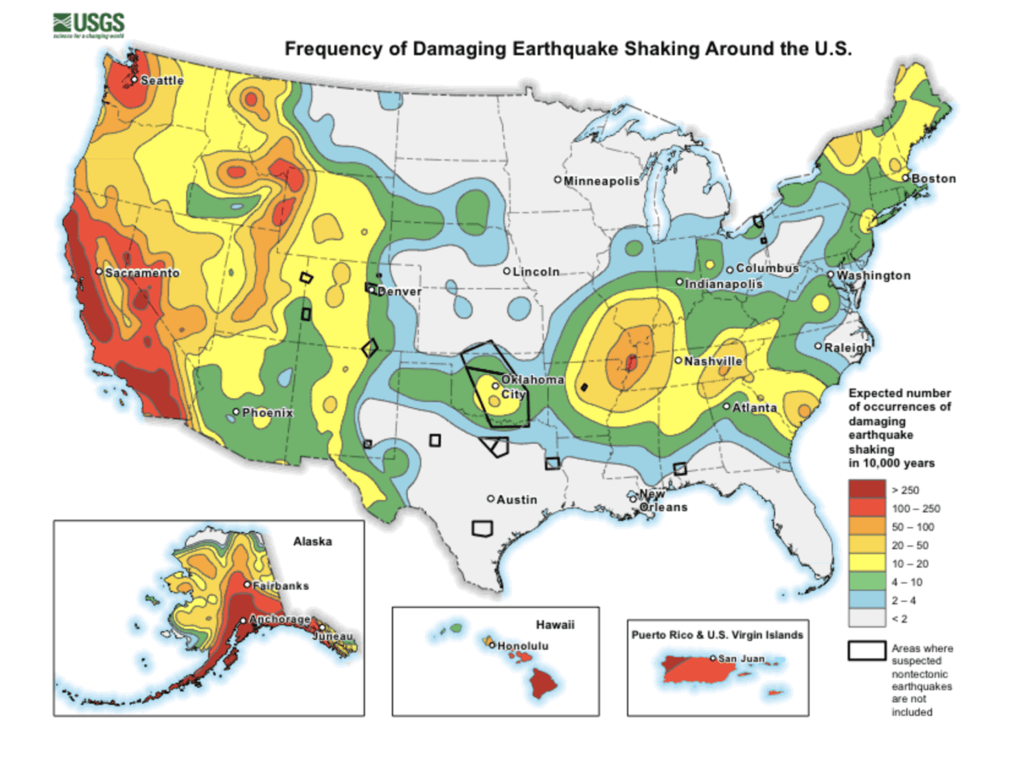 frequency of damaging earthquake shaking around the U.S.