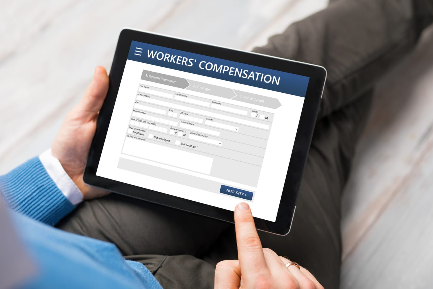 Man applying for workers compensation